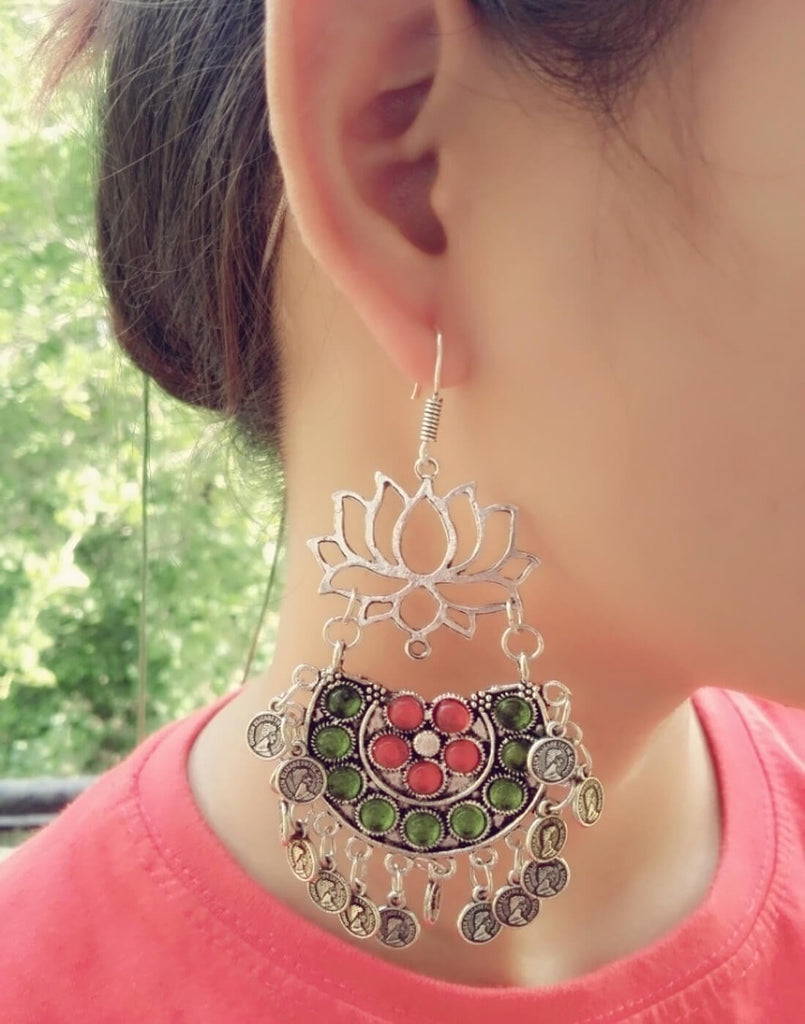 Afghani Earrings/Chandbalis In Alloy Metal- Lotus Pattern 14