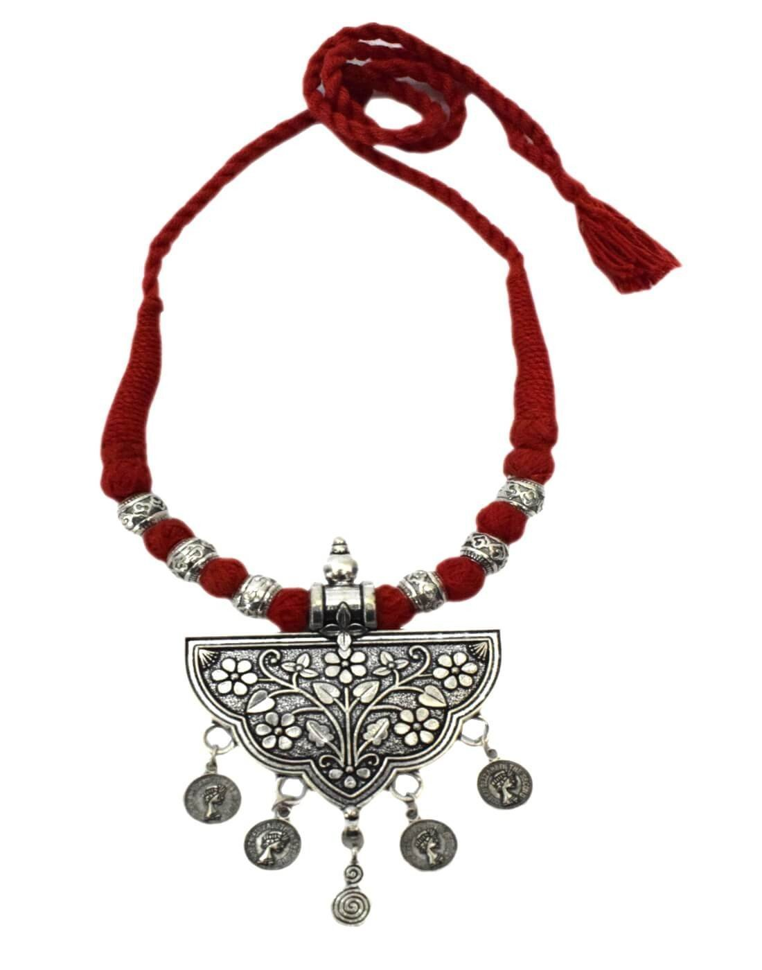 Threaded German Silver Necklace&Pendant-Red