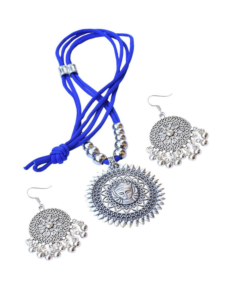 GiftPiper Oxidized Metal Threaded Necklace Set - Blue