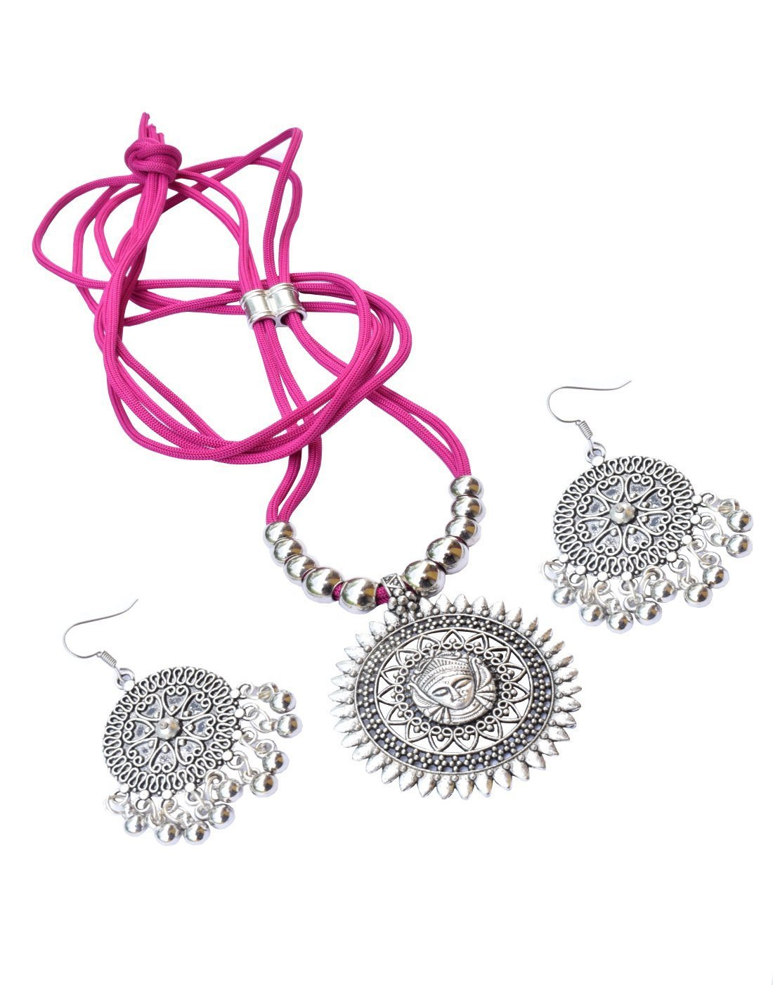 GiftPiper Oxidized Metal Threaded Necklace Set -Fuchsia