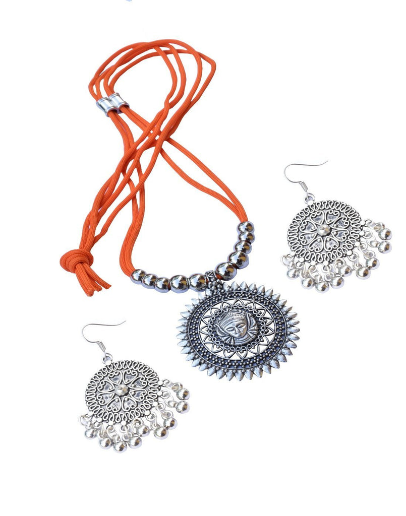 GiftPiper Oxidized Metal Threaded Necklace Set - Orange
