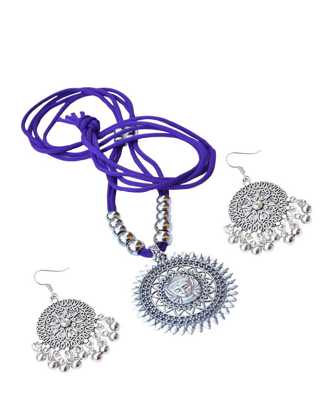 GiftPiper Oxidized Metal Threaded Necklace Set - Purple