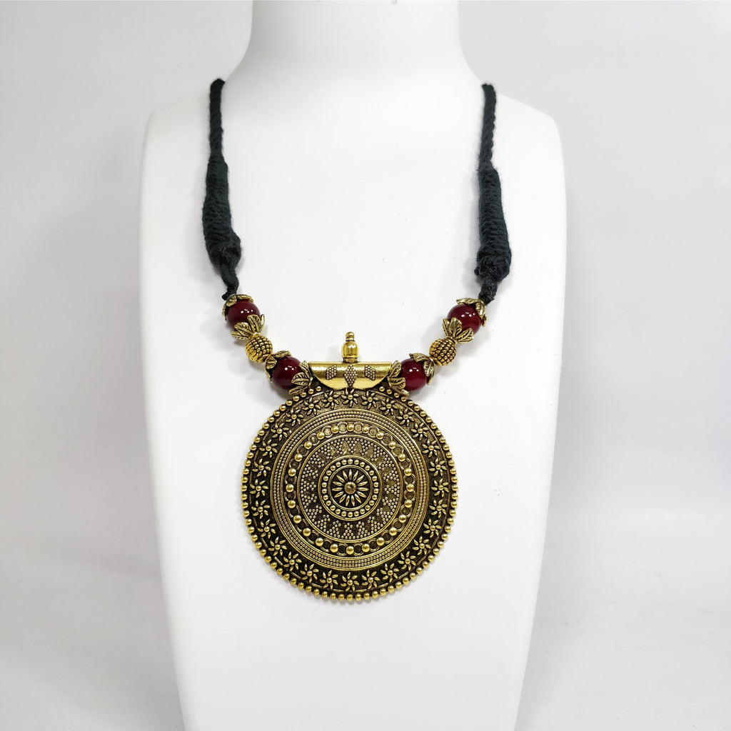 Shana Fashion Oxidised Antique Gold Black Tribal Pendant Necklace
