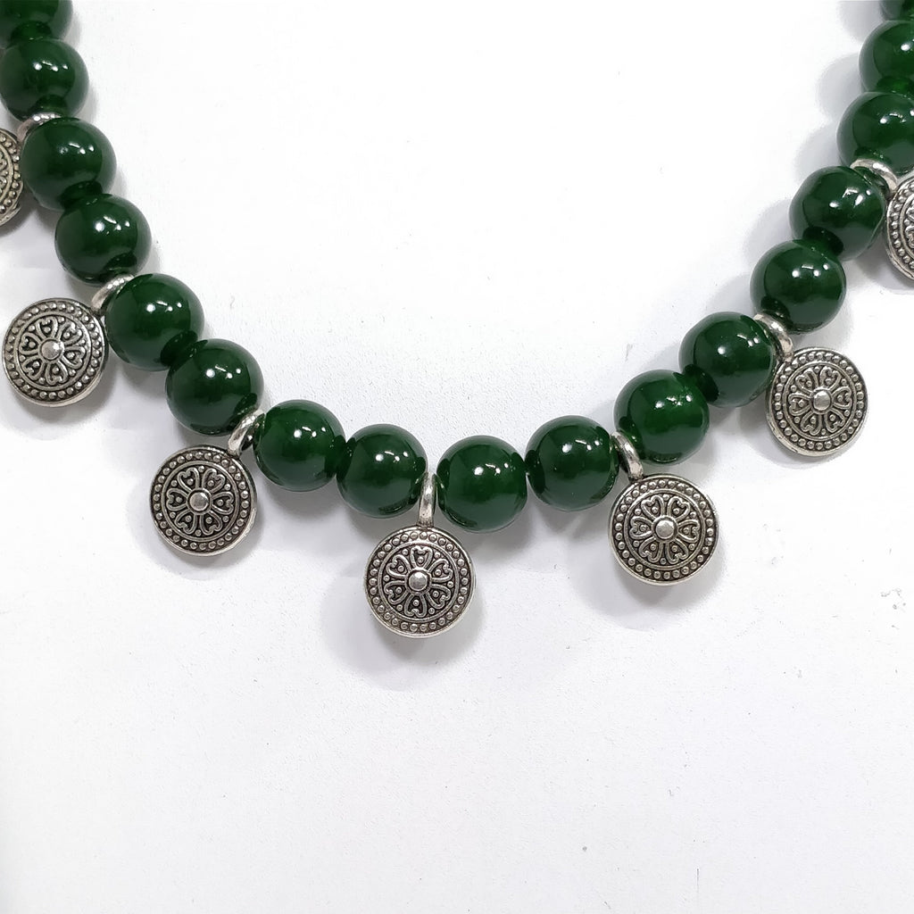 Shana Fashion Green Beads Tribal Coin Necklace