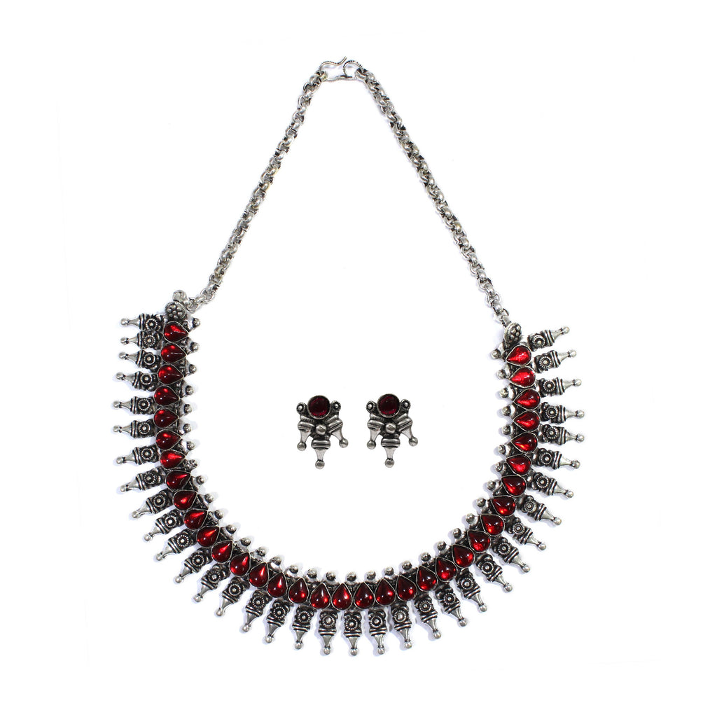 Oxidized German Silver Fringe Design And Red Stone Choker Necklace Set