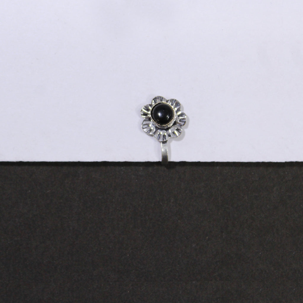 Oxidized German Silver Floral Nose Pin for Women