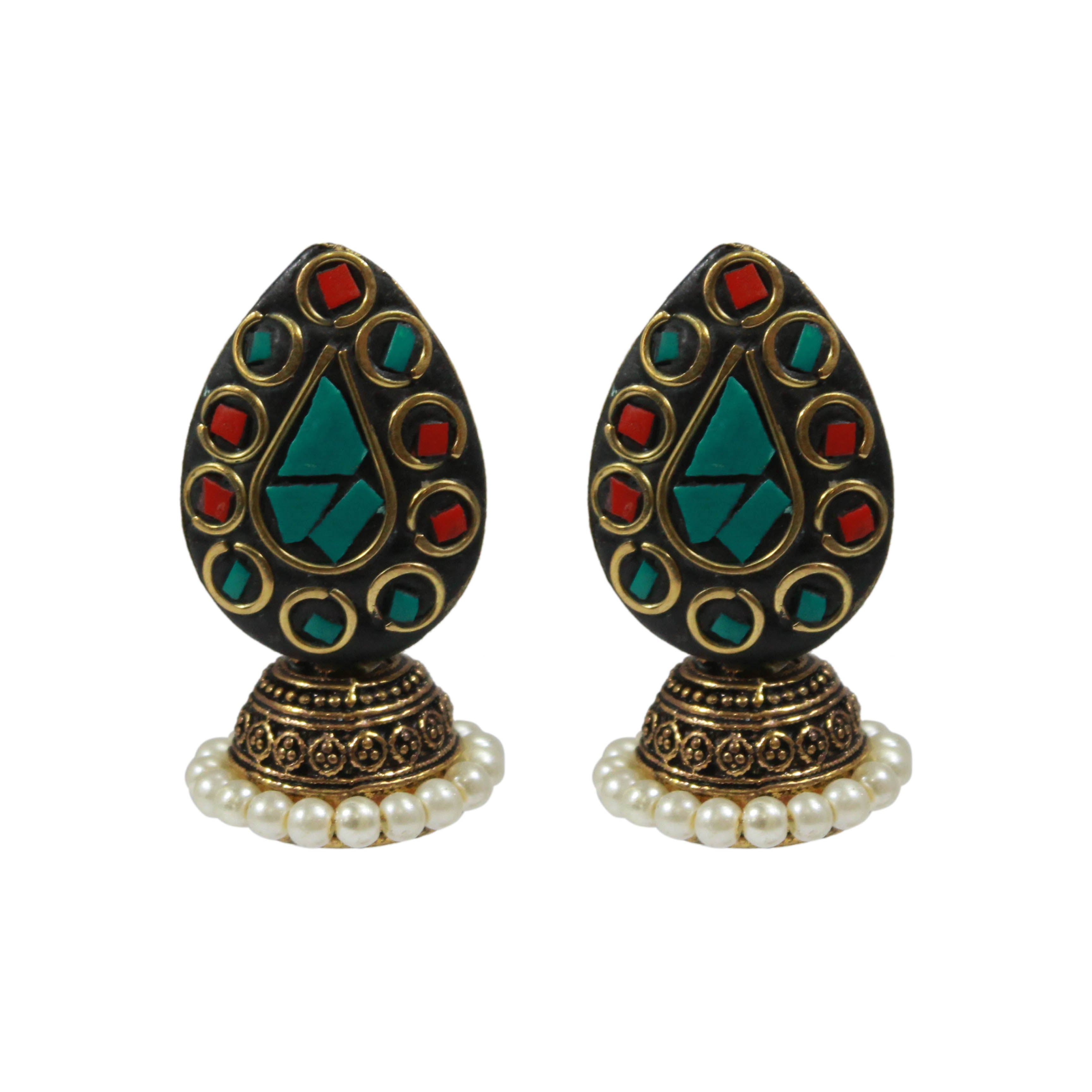 Red Green Petal Jhumka Earring