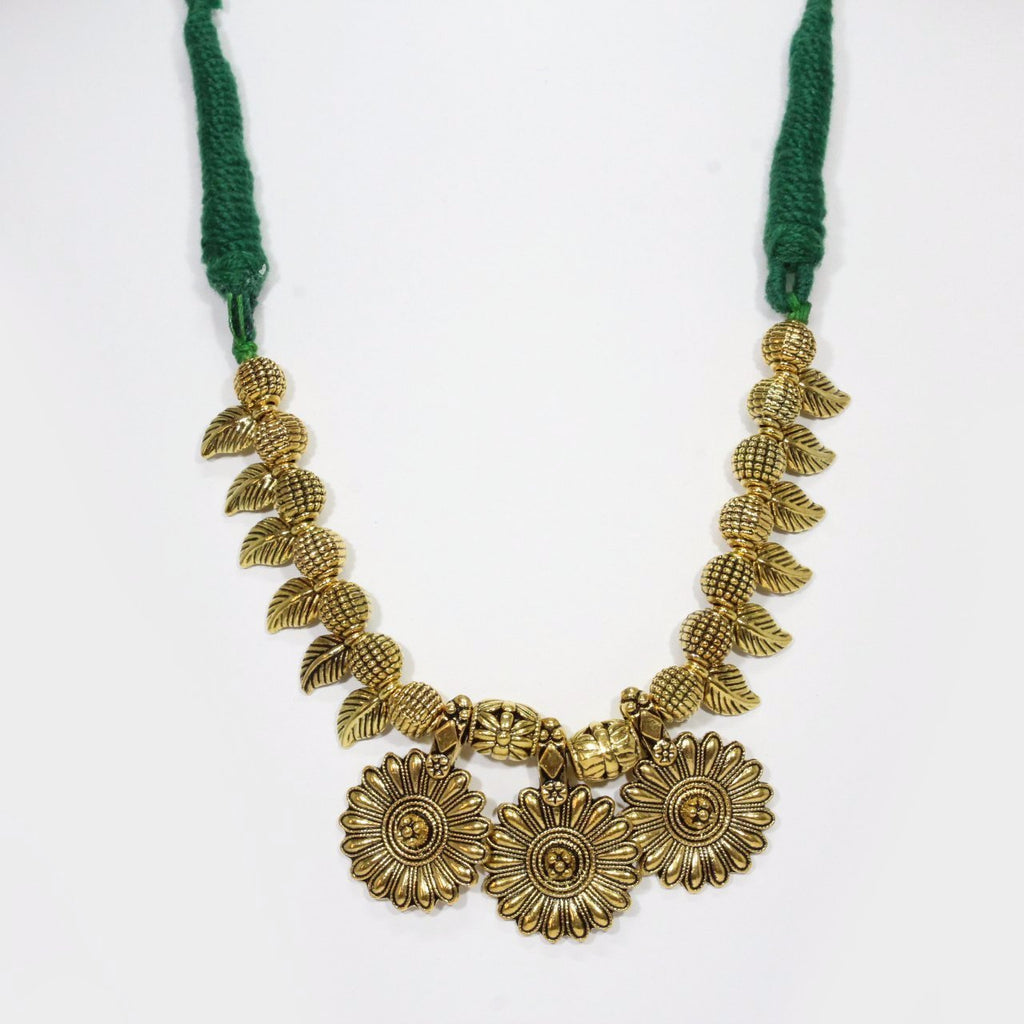 Gold color Oxidised Two Flower Design Pendant Braided Necklace