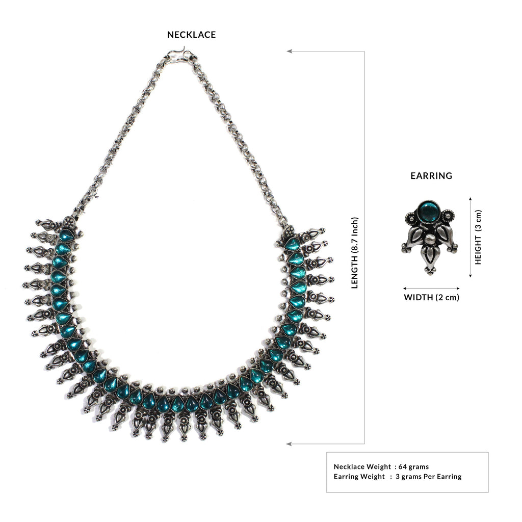 Oxidized German Silver Fringe Design And Sky Blue Stone Choker Necklace Set