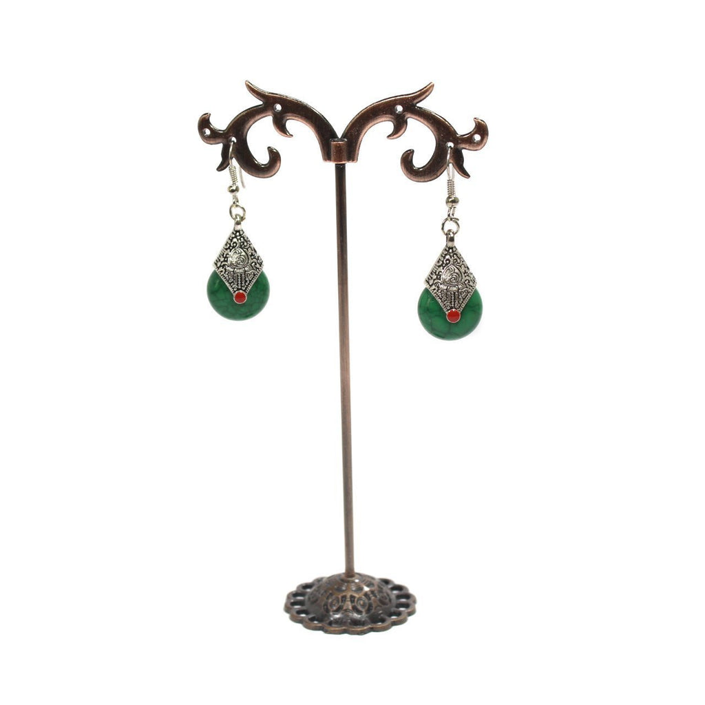 Dark Green Color Rain Drop Earring