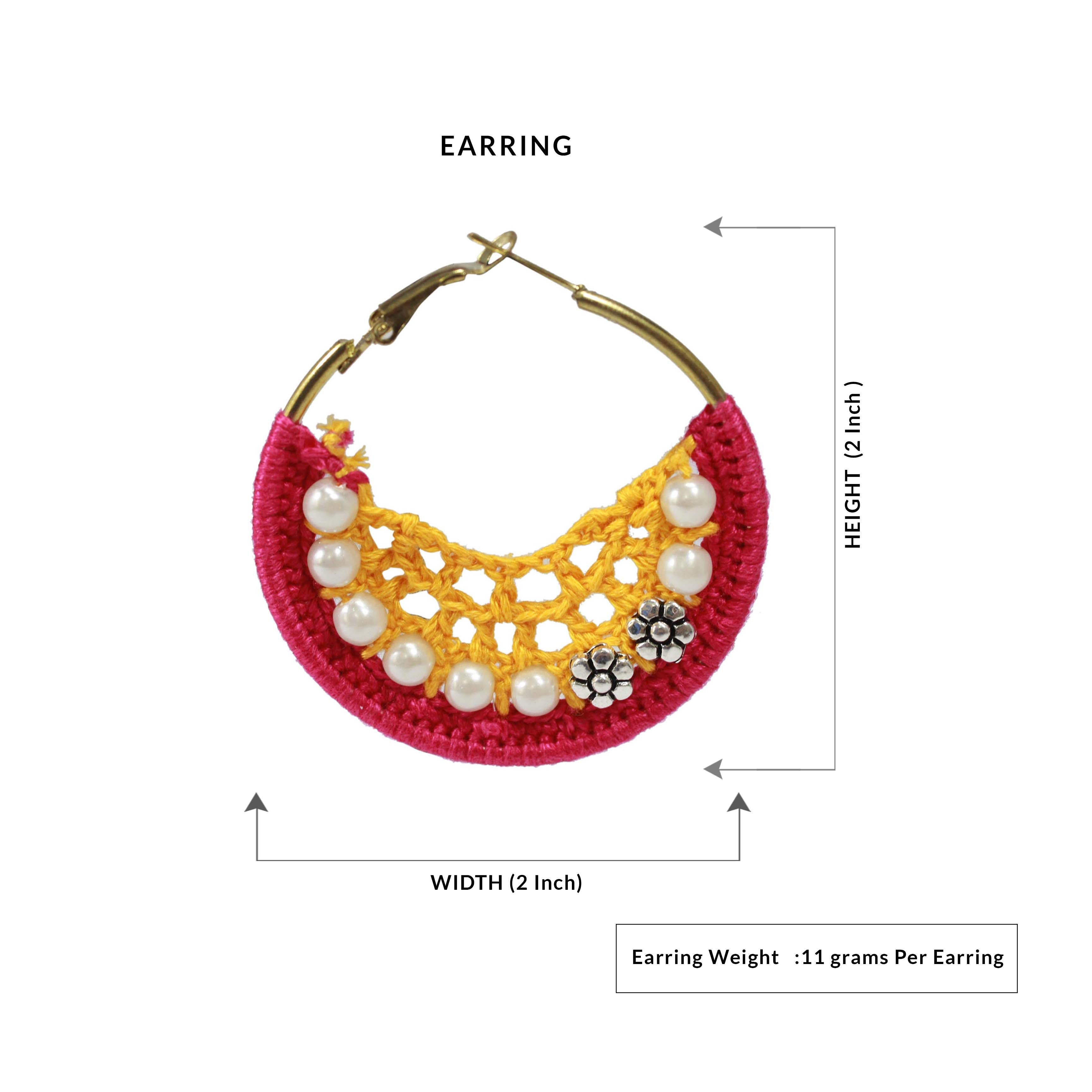 Pink Yellow Crochet Hoop Earring
