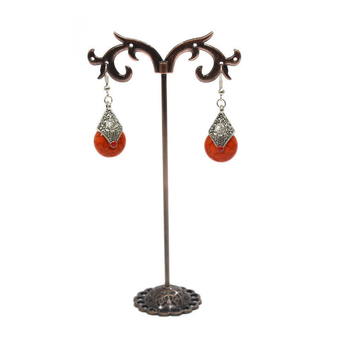 Orange Color Rain Drop Earring