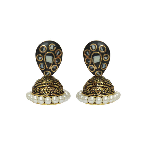 White Cute Lakh Oxidized Jhumka Earring