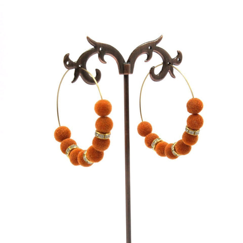 Velvet Orange Color Beads Silk Thread Hoop Earring
