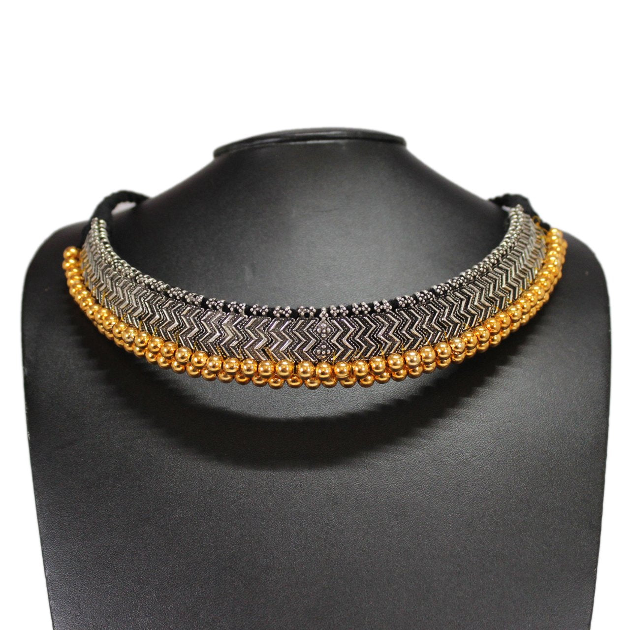 Dual Tone Oxidised German Silver Braided Choker Necklace Set