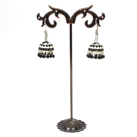 White & Black Colour Amrapali Hanging Jhumka With Black Color Beads