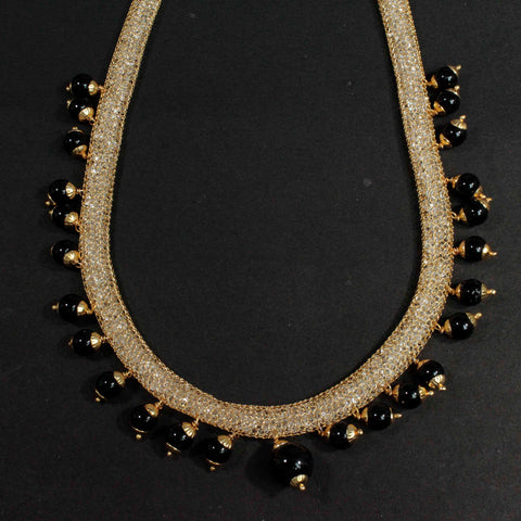 Boho Style Gold Plated Wire Mesh Necklace With Black Beads