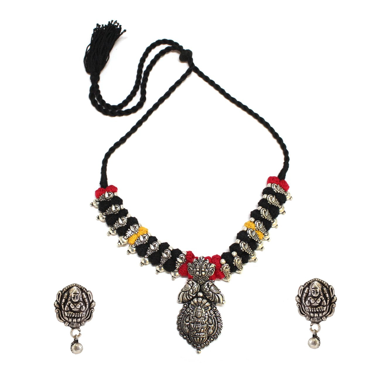 Oxidised German Silver Temple Necklace Set