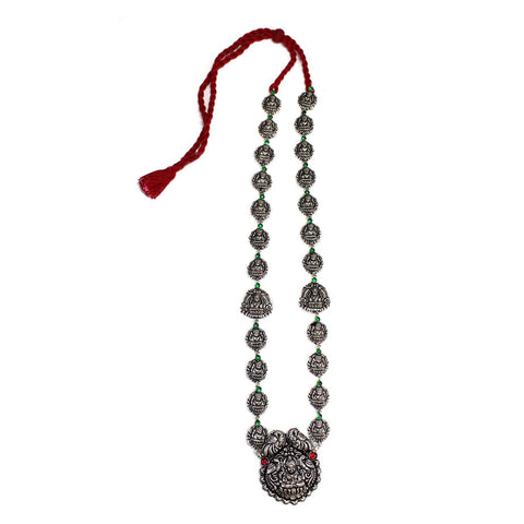 Oxidised German Silver Lakshmi Temple Long Haar Necklace Set