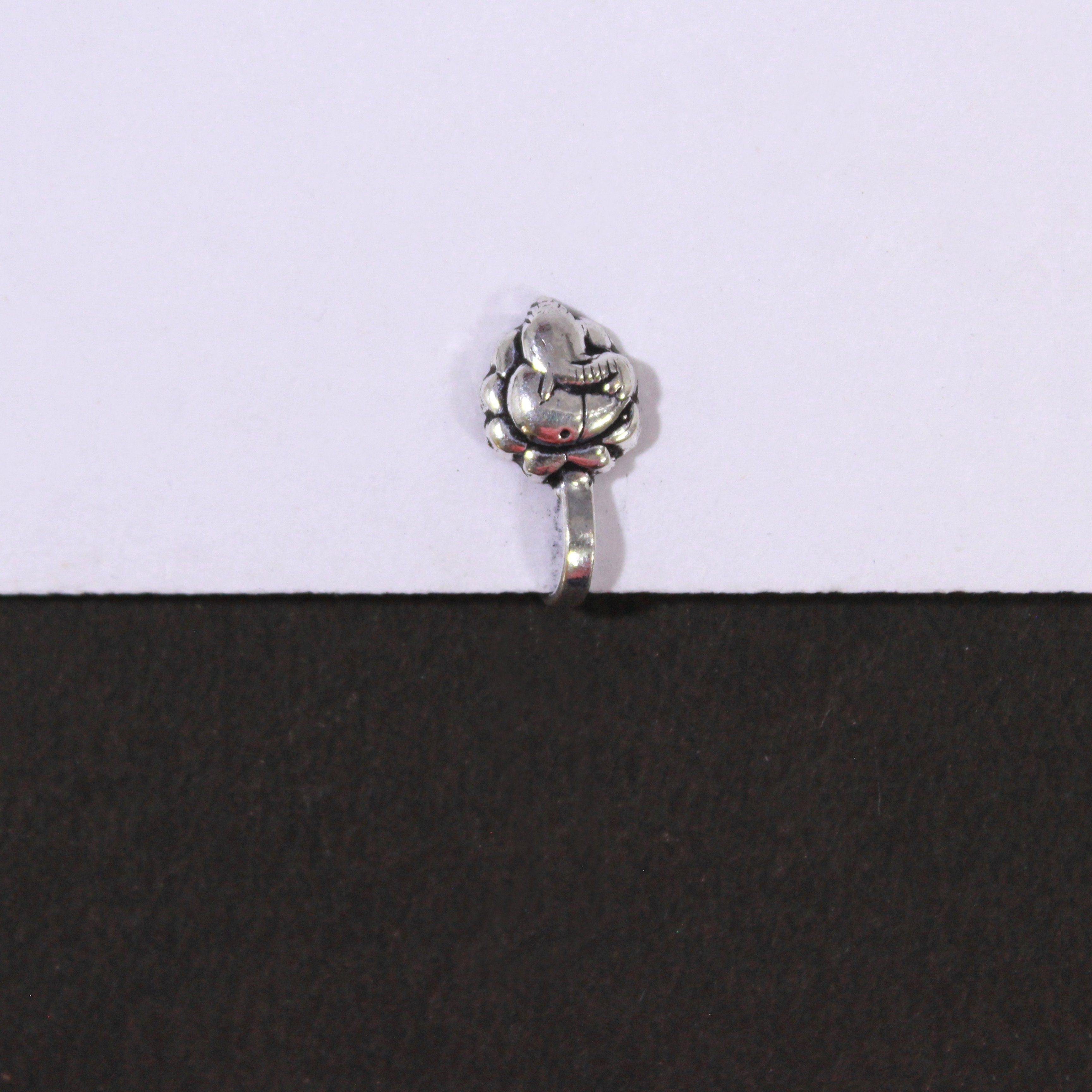 Oxidized German Silver Ganesha Nose Pin for Women