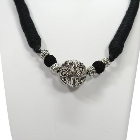 Shana Fashion Oxidized Silver Black Bahubali Bead Pendant Necklace