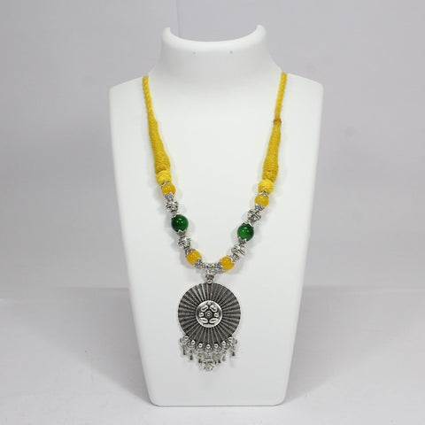 Oxidised German Silver Ganesha Design With Green & Yellow Bead Necklace