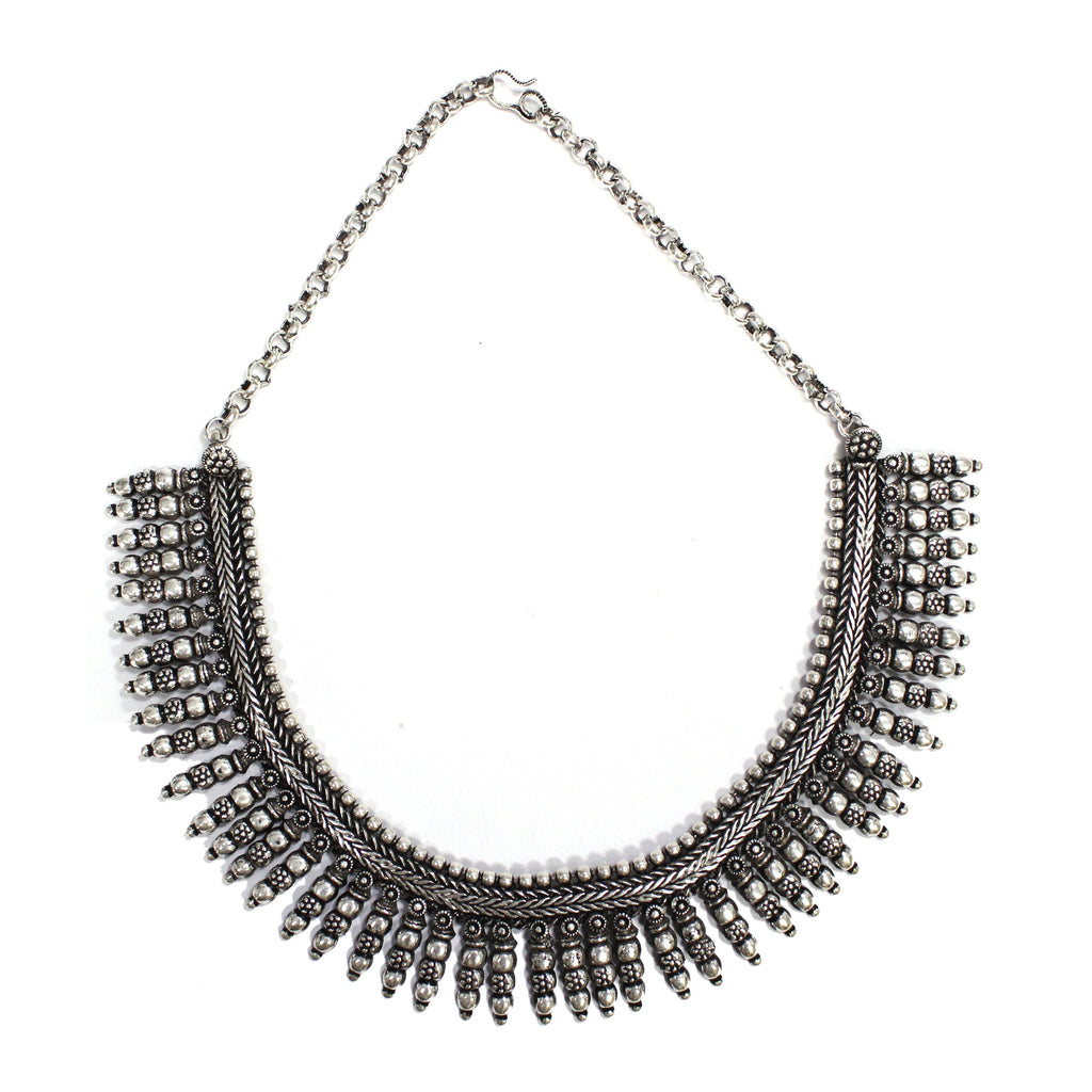 Oxidized German Silver Fringe Choker Necklace