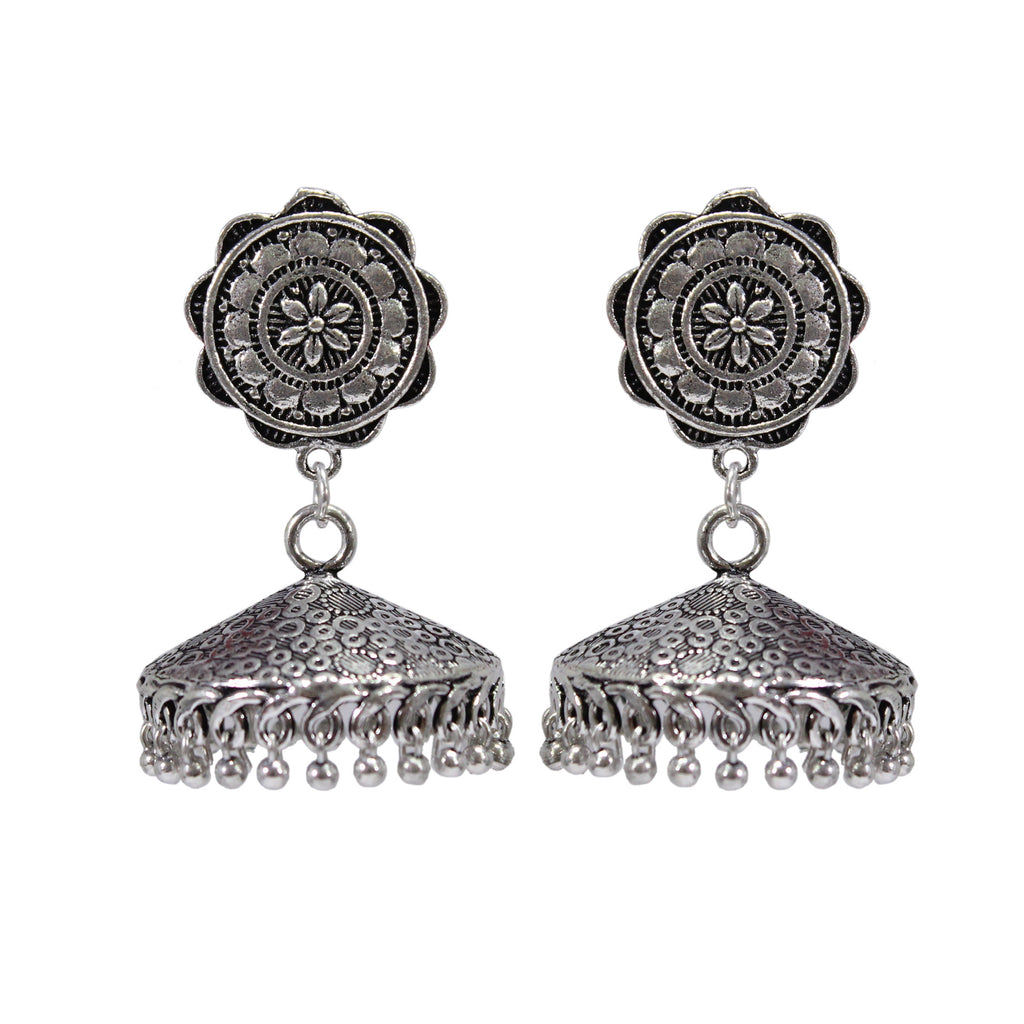 Oxidized German Silver Floral Pattern Jhumka