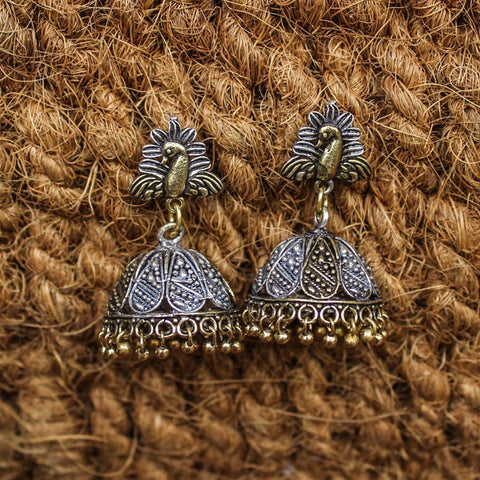 Oxidized Traditional Dual Tone Peacock Design Stud Jhumka