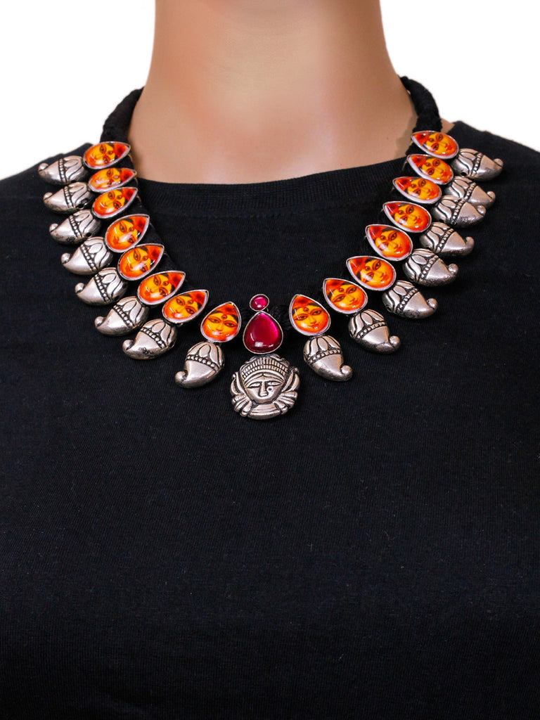 Oxidised German Silver Durga Face Design Necklace Set With Nose Pin