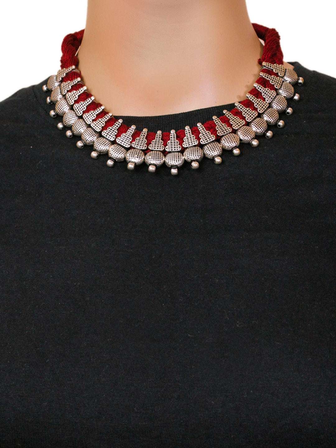 Oxidised German Silver Geometric Design Choker Necklace Set