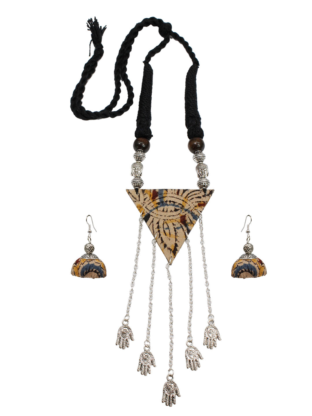 Kalamkari Fabric Printed Triangle Pendant Design Handmade Necklace Set