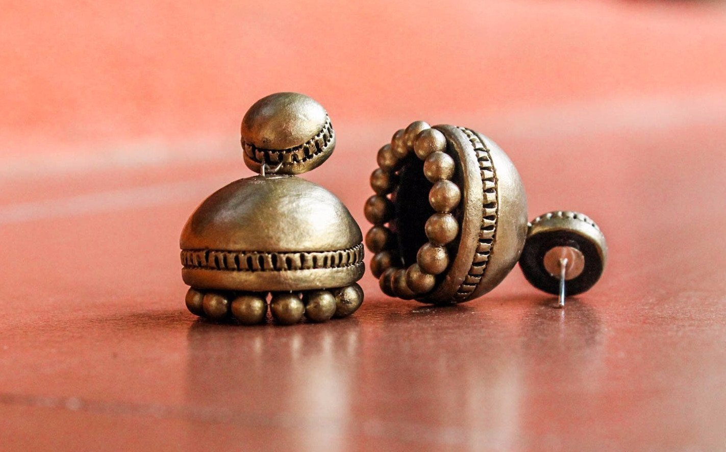 Antique Gold Terracotta Jhumka By Nakshatra