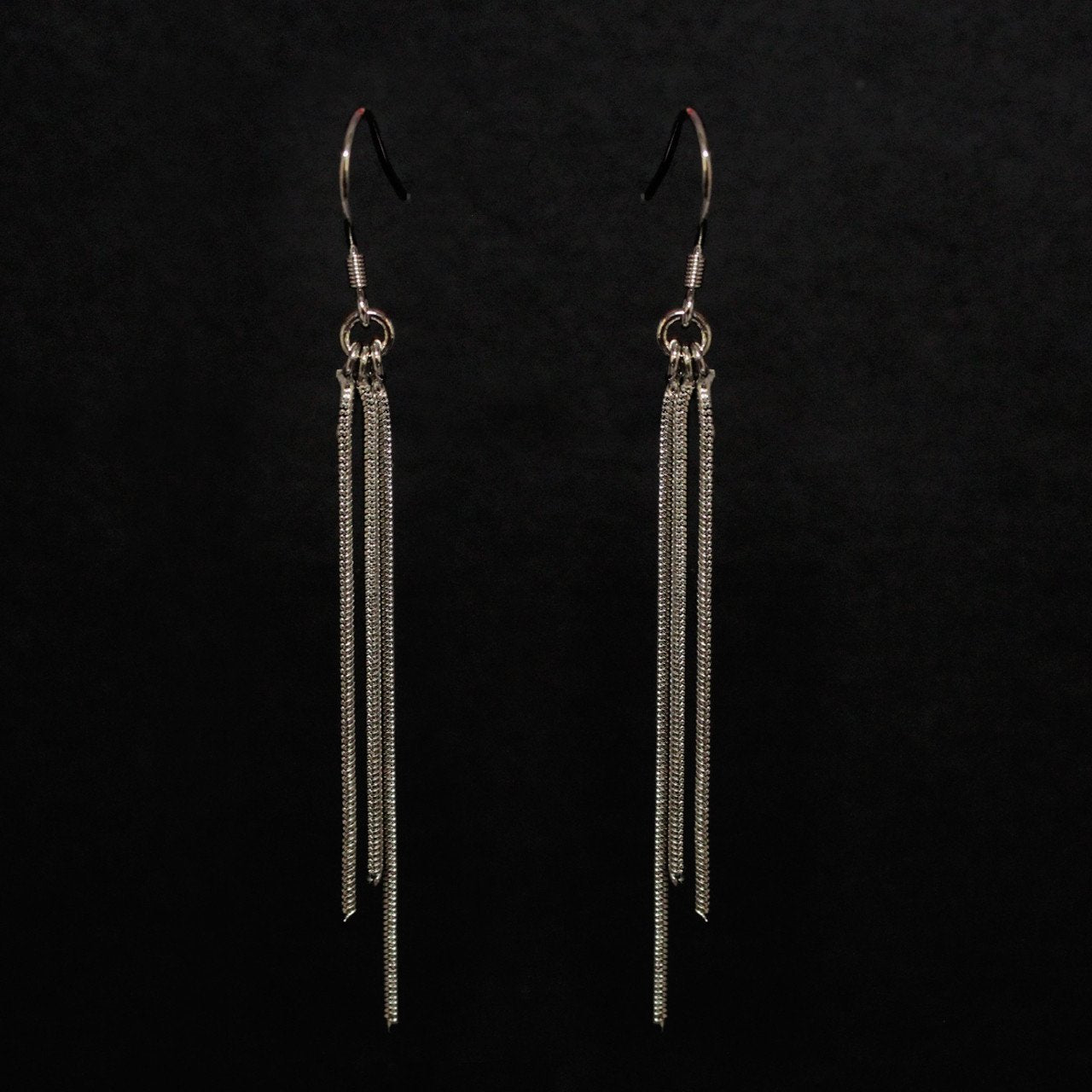 Three Layered Dropping Tassel Silver Earring