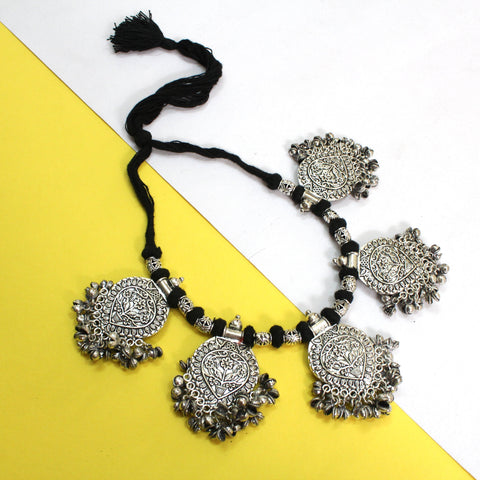 Oxidized German Silver Ghungroo Floral Pendant Motif Necklace