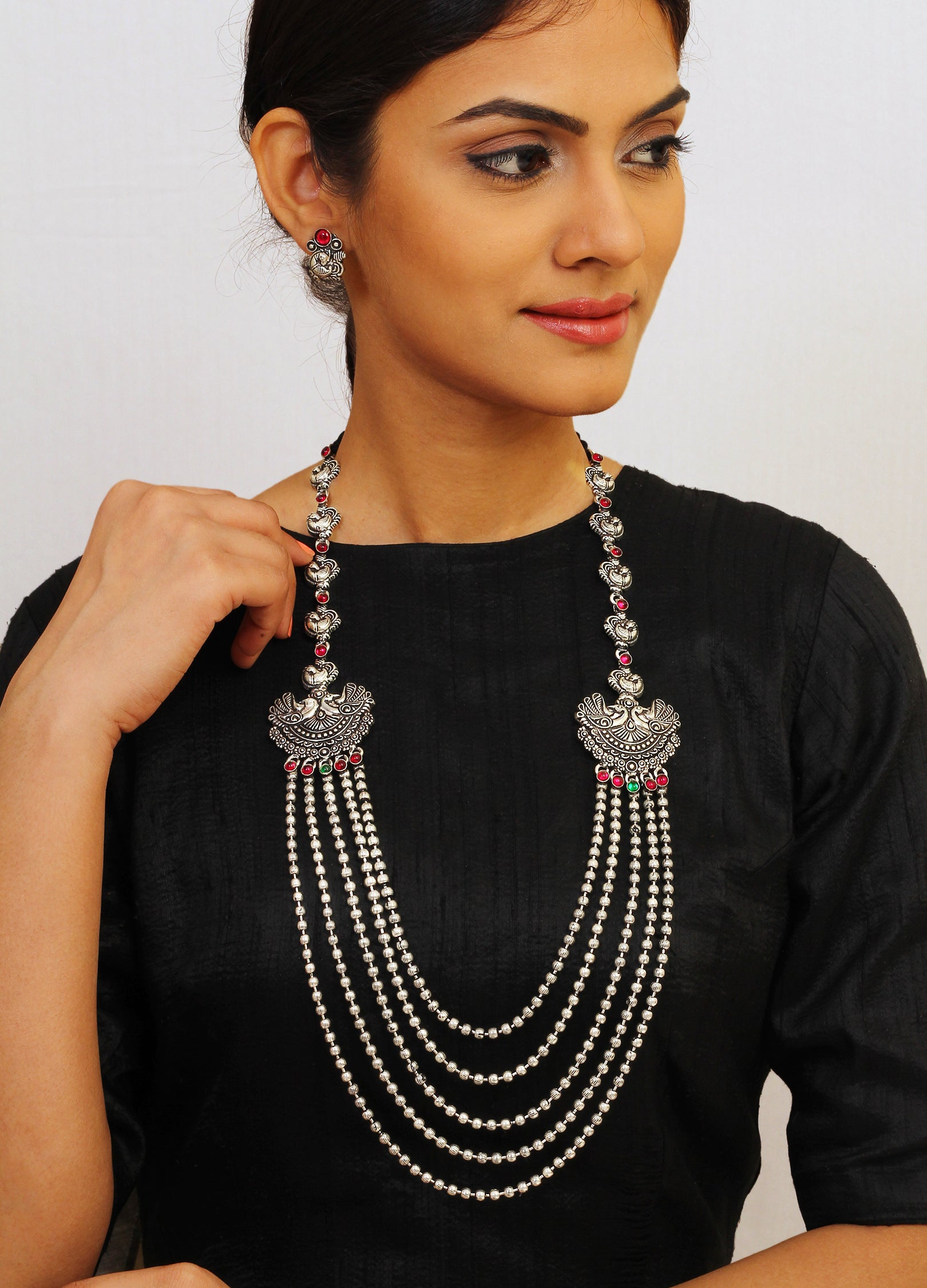 Oxidised German Silver Peacock Design Long Necklace Set