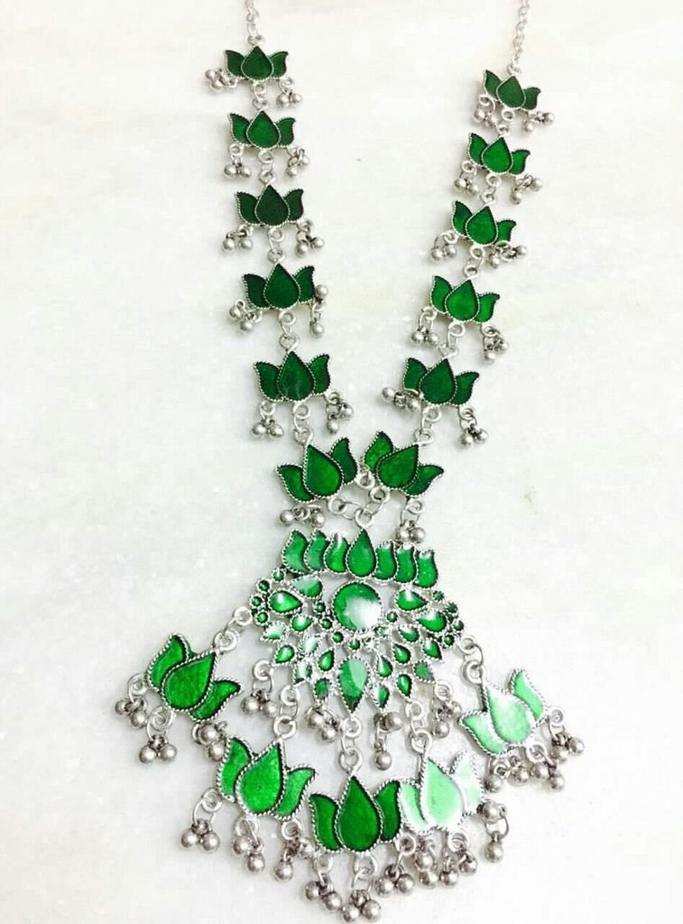 Green Color Handcrafted Afghani Necklace With Ghungroo Droppings
