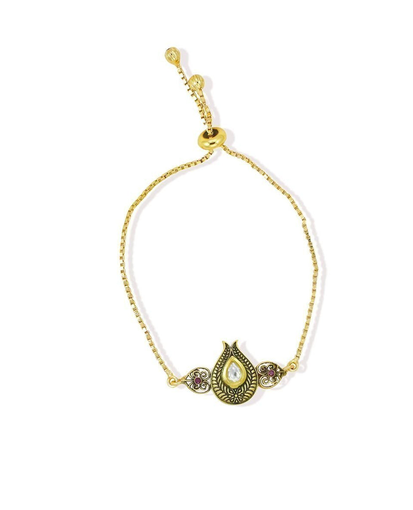 Limited Edition  Kundan Adjustable Bracelet With Box Chain By Zaveri Pearls