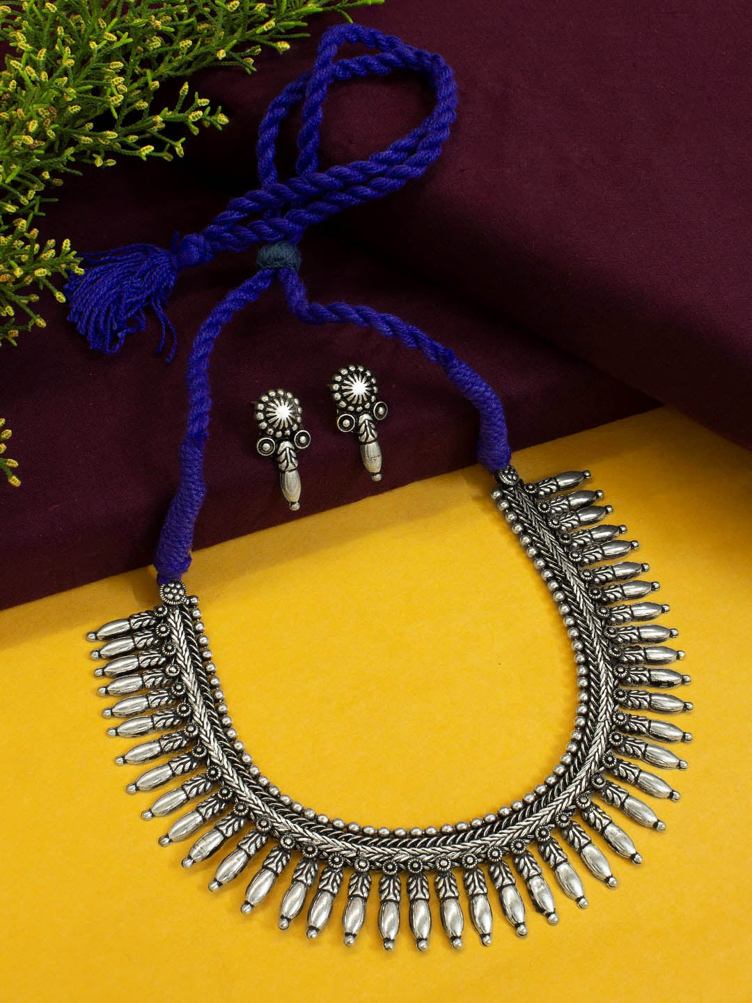 Oxidised German Silver Choker Necklace Set