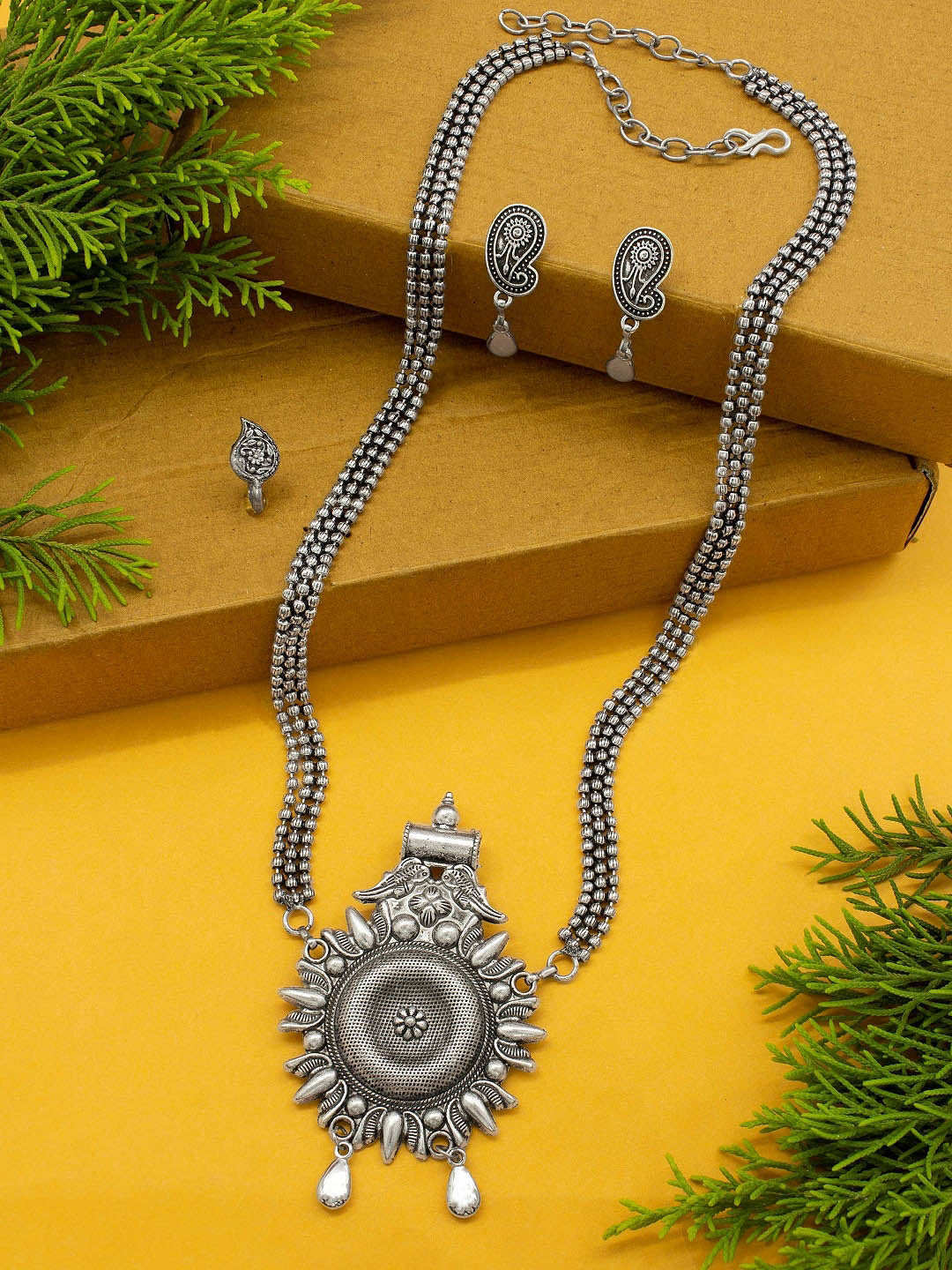 Silver Plated Multi Layered Floral Design Pendant Long Necklace Set By Jumkey Aykya