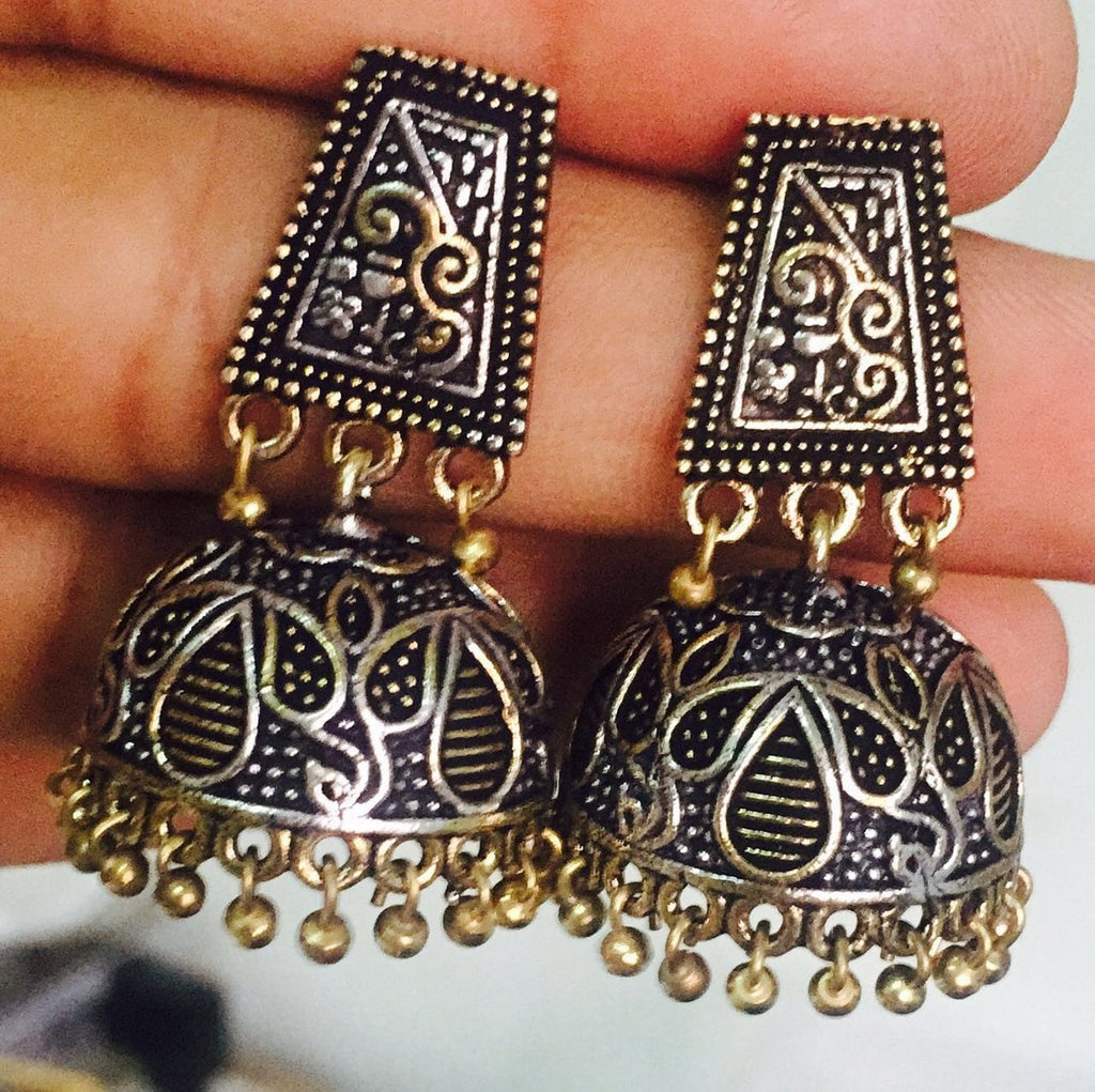 Oxidised German Silver Temple Jhumka