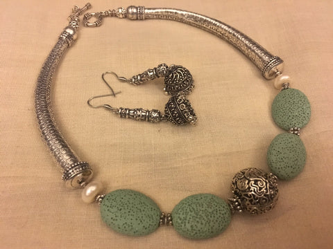 German Silver Semi Precious Stones and Lava Beads Necklace Set