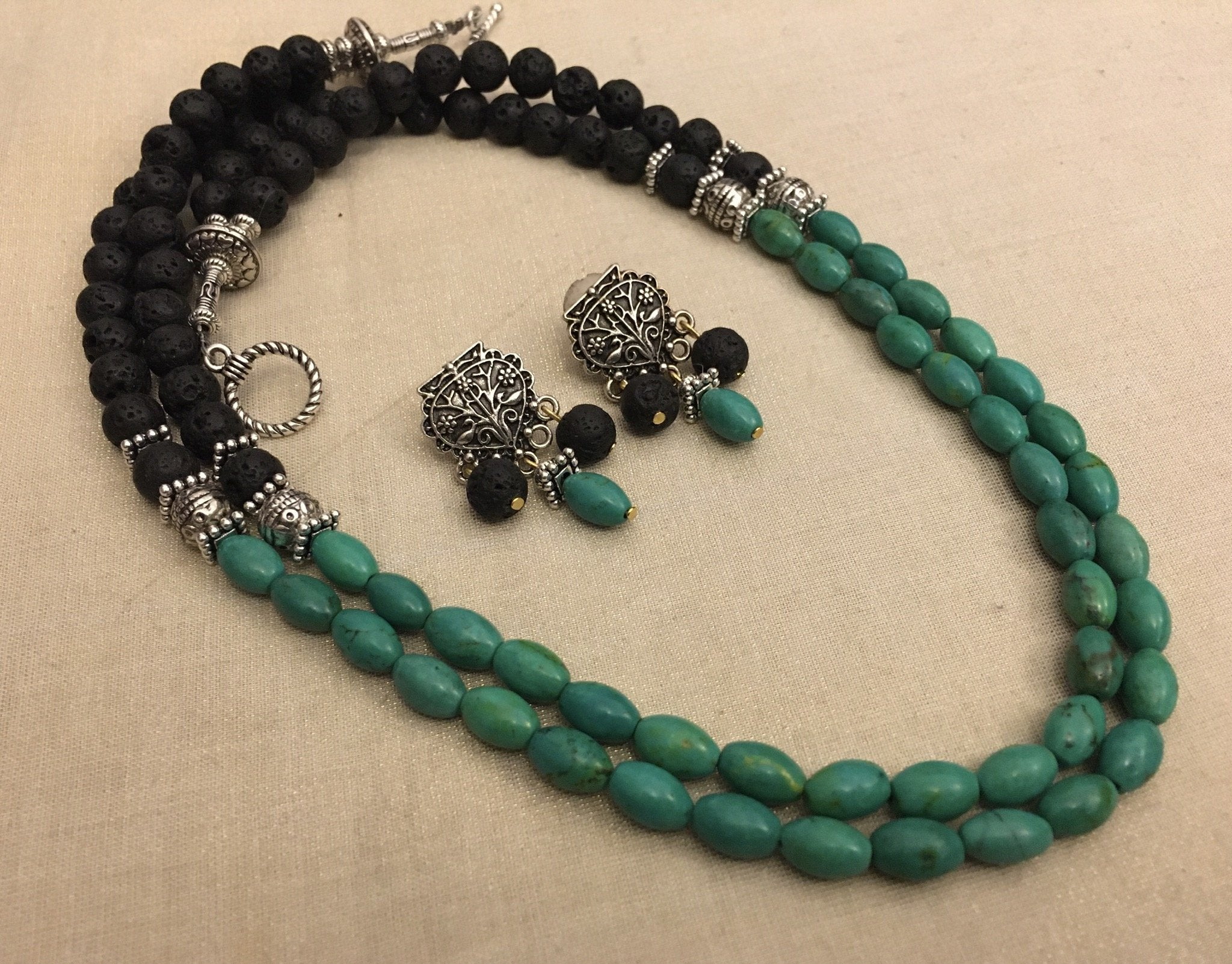 Silver Plated Double Layered Black Color Lava Beads And Turquoise Color Chrysocolla Beads Necklace Set By Jewel Box
