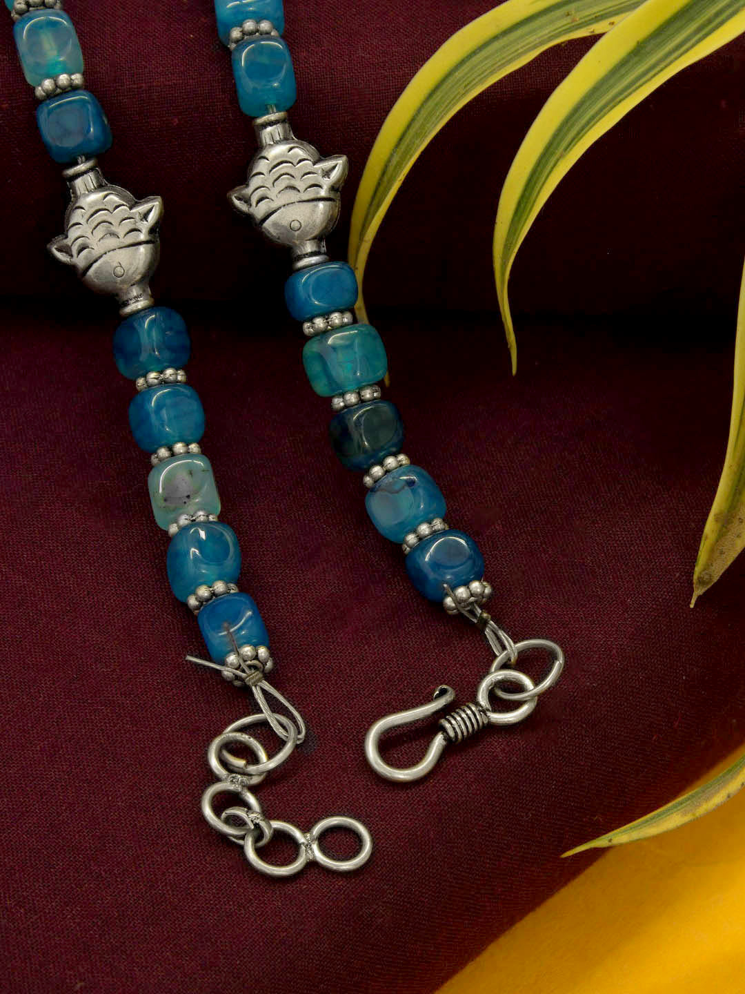 Semi Precious Blue Topaz Square Bead Necklace with German Silver Tribal Pendant