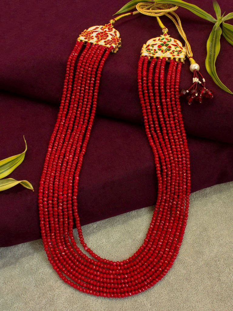 Semi Precious 8 Layered Red Coral Bead Necklace with Reversible Meenakari Pendant