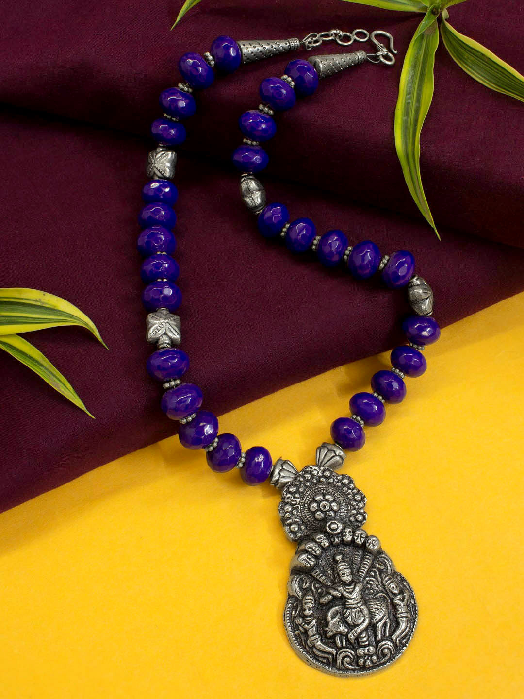 Violet Diamond Cut Semi Precious Beads Necklace in German Silver Krishna  Pendant
