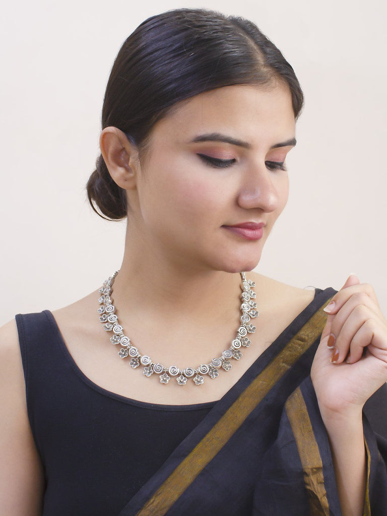 Geometric Design Engraved German Silver Choker Necklace By Purple