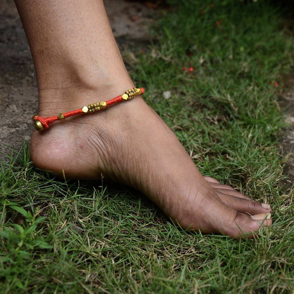 Dhokra Anklet Orange