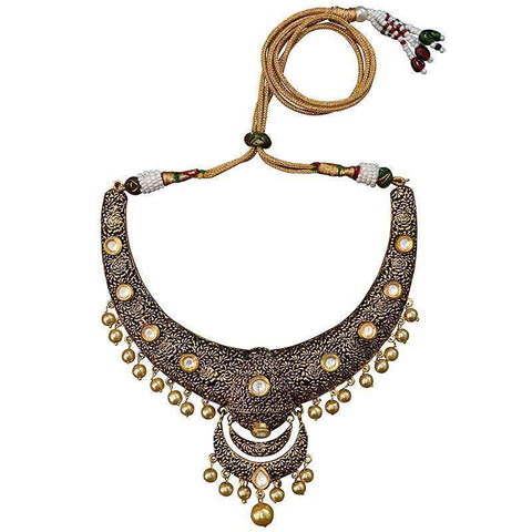 Traditional Kundan Gold Plated Brass Hasli Necklace Set