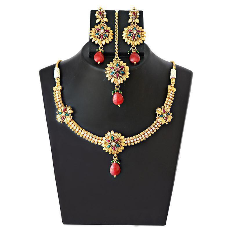 Bridal Mk Jewellers Gold Plated Kundan Necklace Mang Tika Set-41